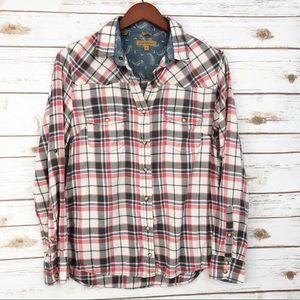 3/ $25 SALE! Jach's Girlfriend Plaid Shirt S ::S24